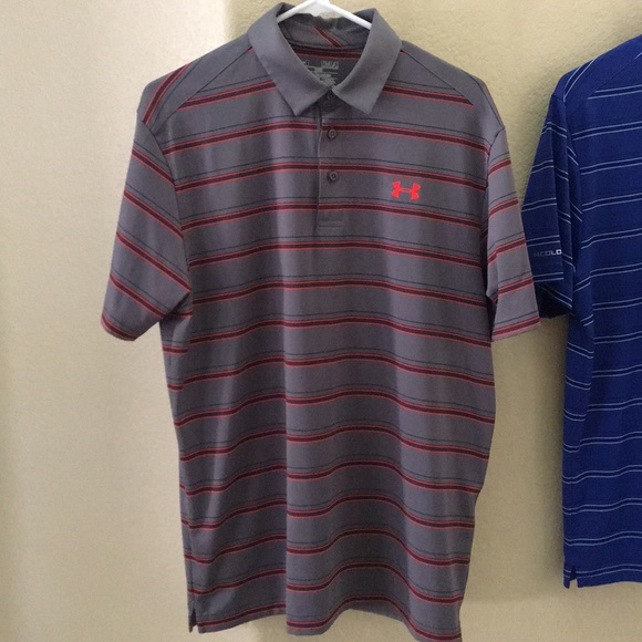 NWT UNDER ARMOUR MENS LOOSE FIT EMBOSSED STRIPES POLO SHIRT S//M//L//XL//2XL